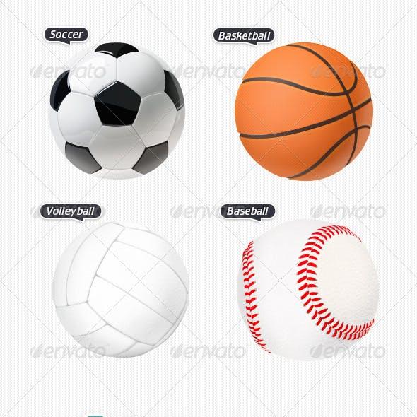 4 Various Sport Balls