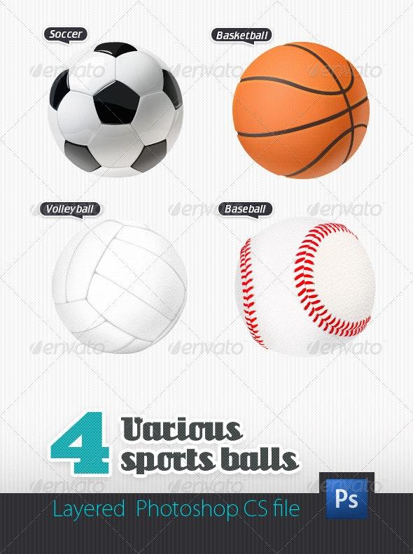 4 Various Sport Balls - Objects Illustrations