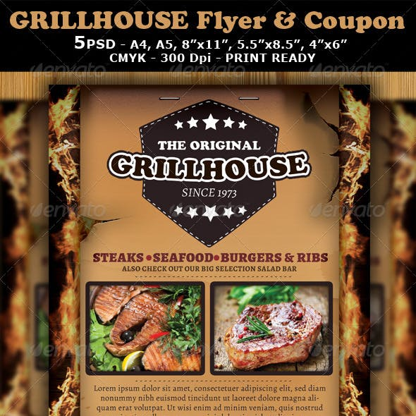 Grill Restaurant Magazine Ad or Flyer Template