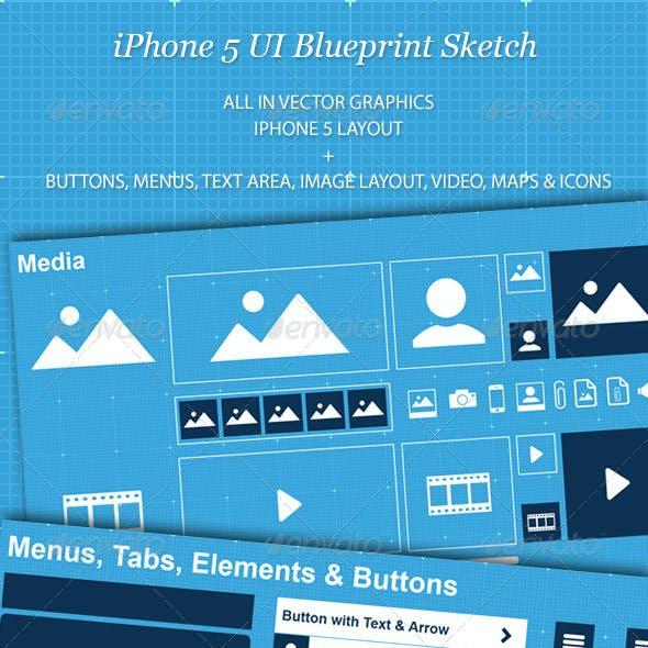 iPhone 5 UI Blueprint Sketch