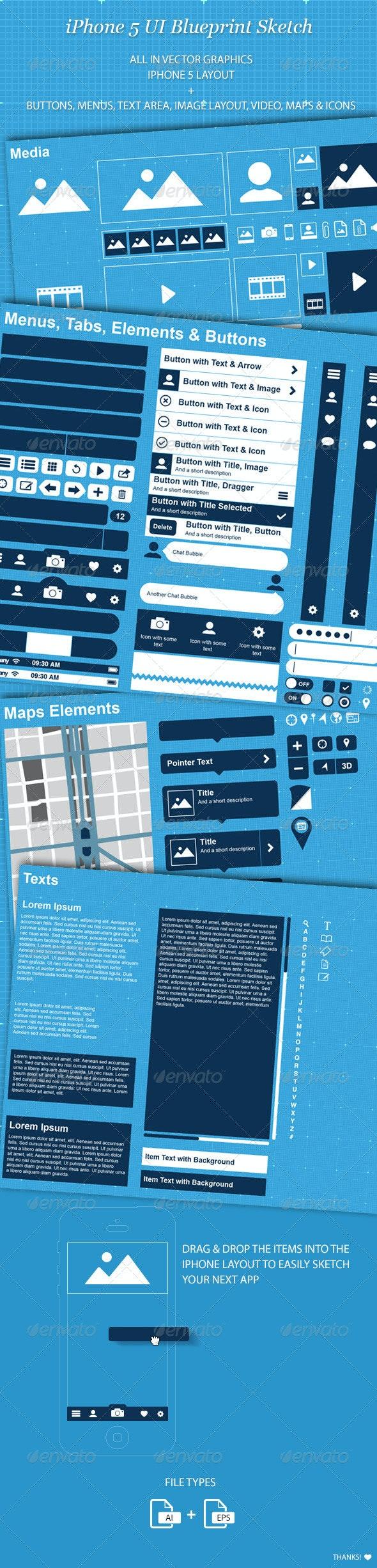 iPhone 5 UI Blueprint Sketch - User Interfaces Web Elements