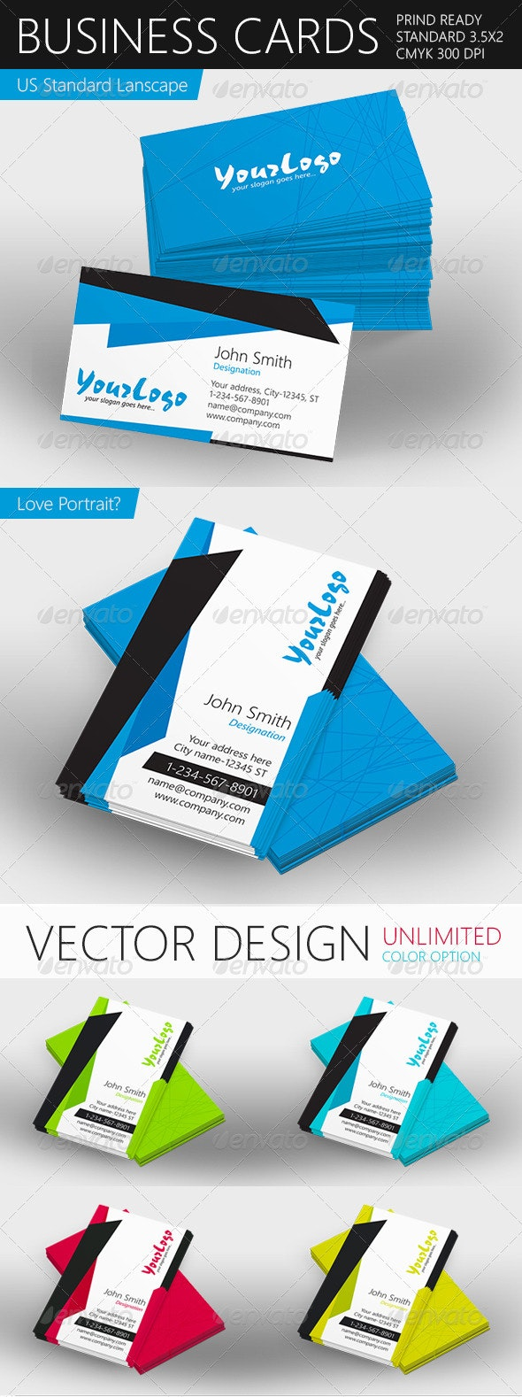 Print Ready Vector Business Card - Corporate Business Cards