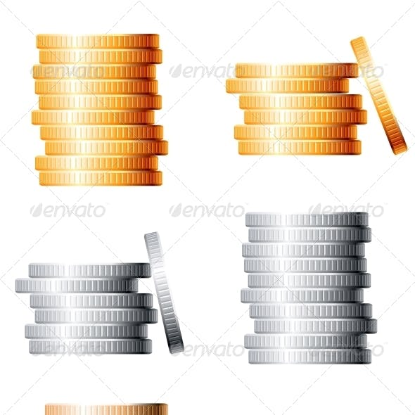 Bronze Silver and Gold Stacks of Coins