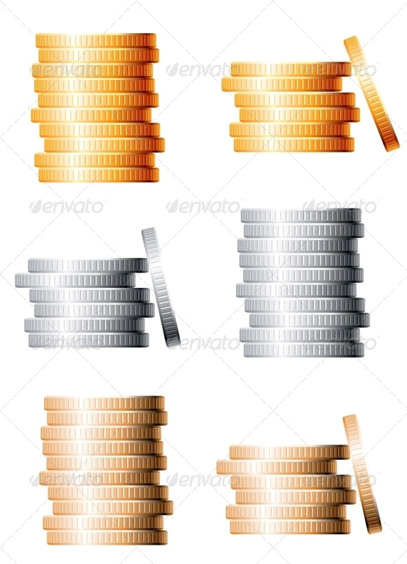 Bronze Silver and Gold Stacks of Coins - Man-made Objects Objects