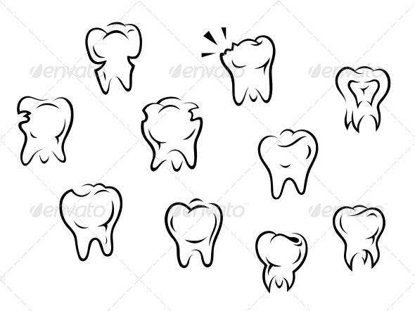 Set of Health and Illness Teeth - Health/Medicine Conceptual