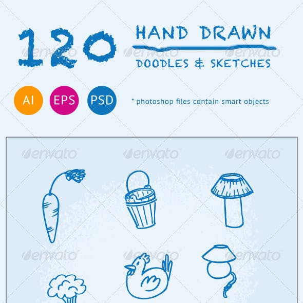 120 Hand Drawn Doodles and Sketches