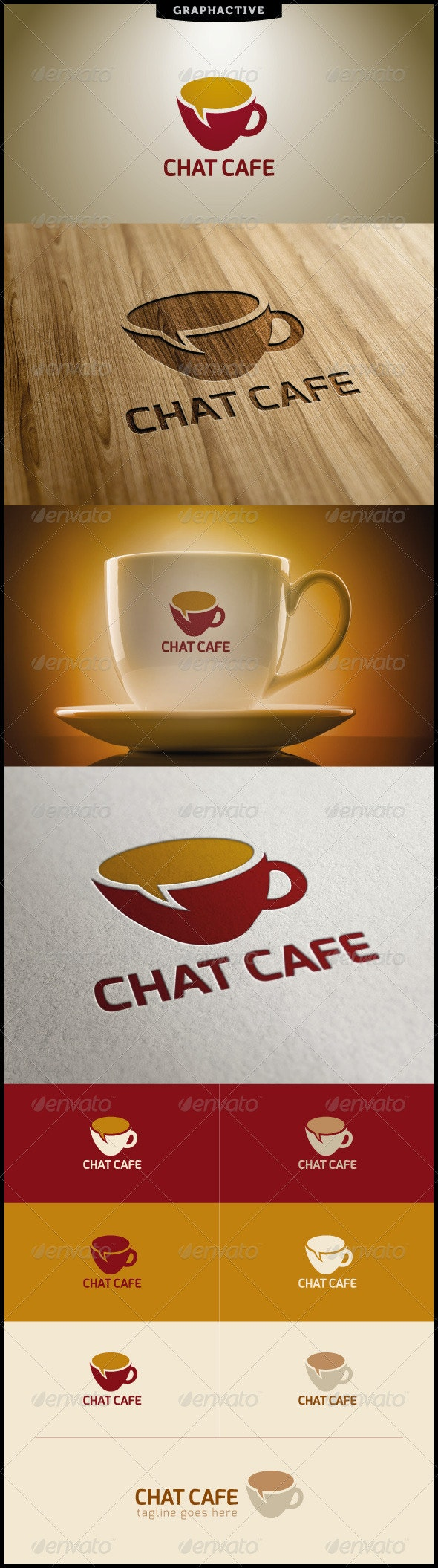 Chat Cafe Logo Template - Food Logo Templates