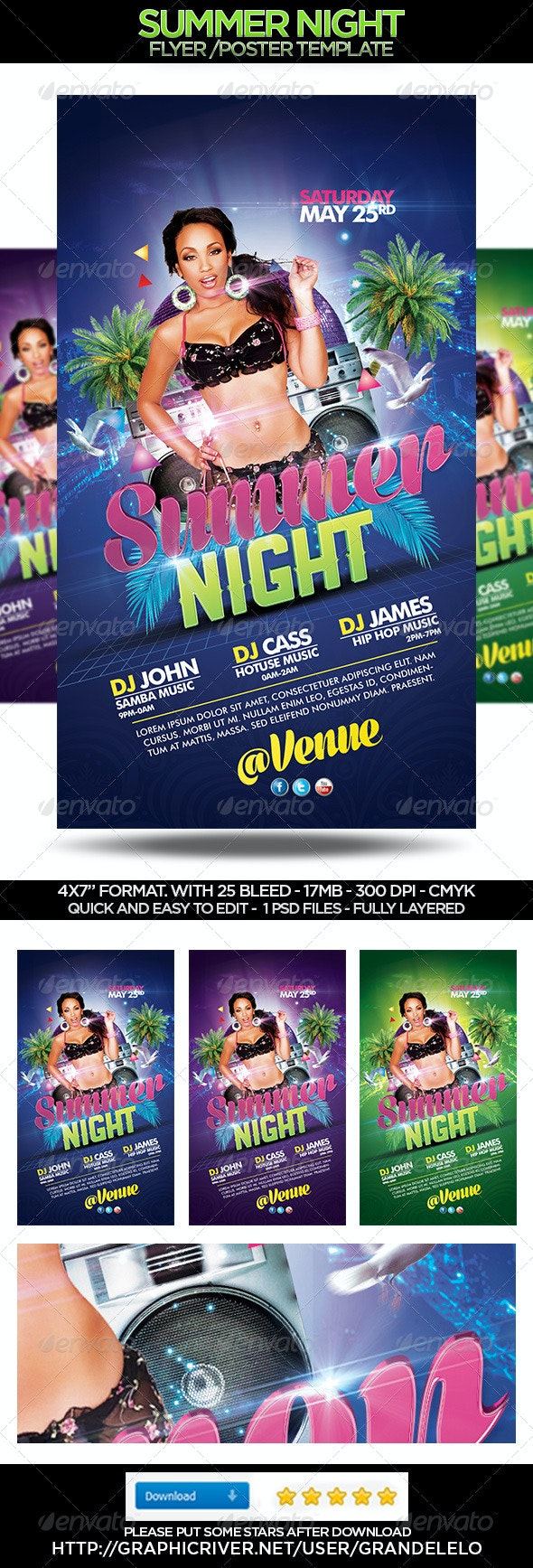 Summer Night Flyer Template - Clubs & Parties Events