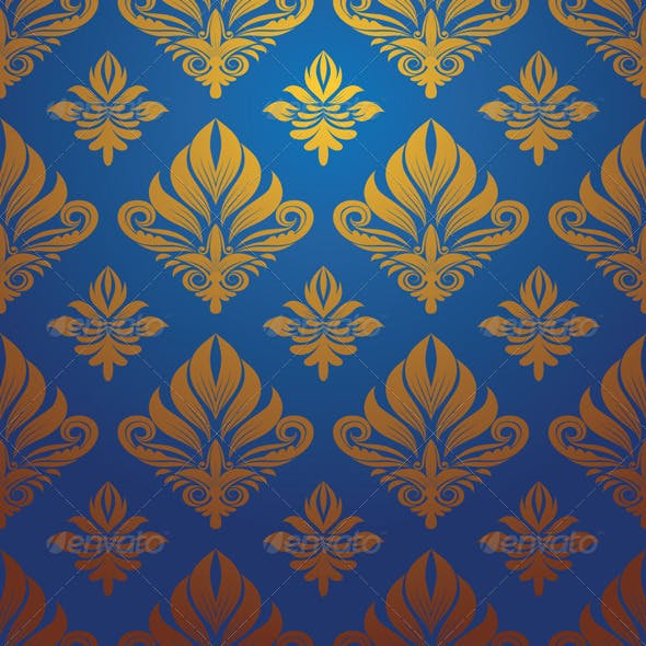 Gold and Blue Decorative Pattern