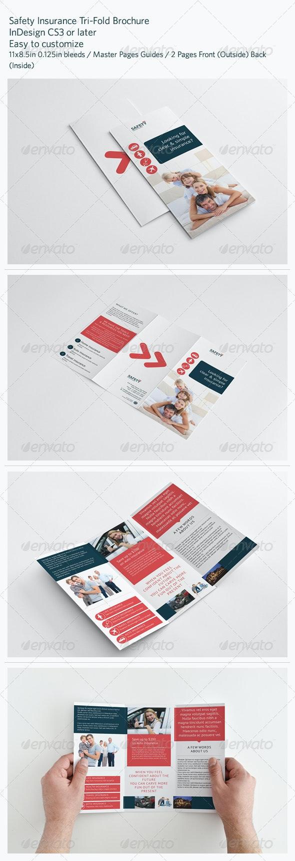 Safety Insurance Tri-Fold Brochure - Brochures Print Templates