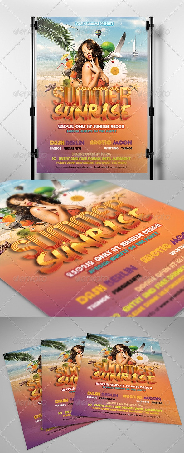 Summer Sunrise Flyer Template - Clubs & Parties Events