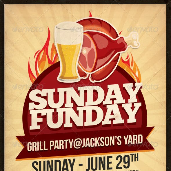 Sunday Funday Grill Party Flyer