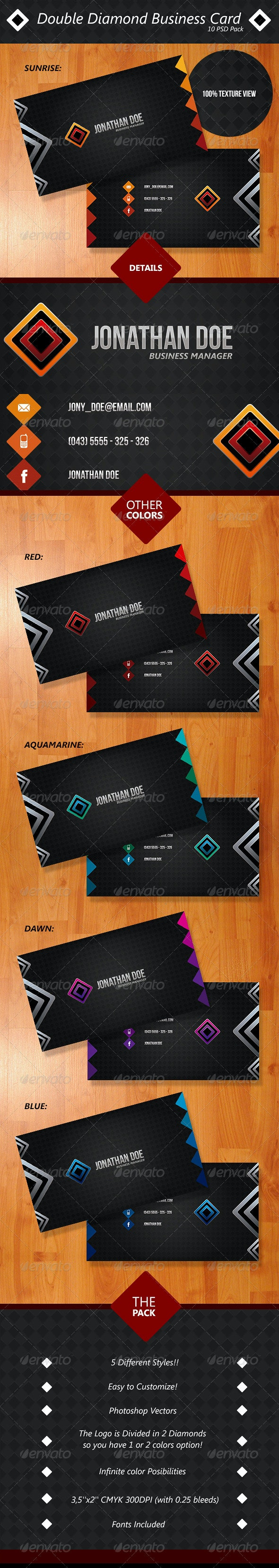 Double Diamond Business Card Pack - Creative Business Cards