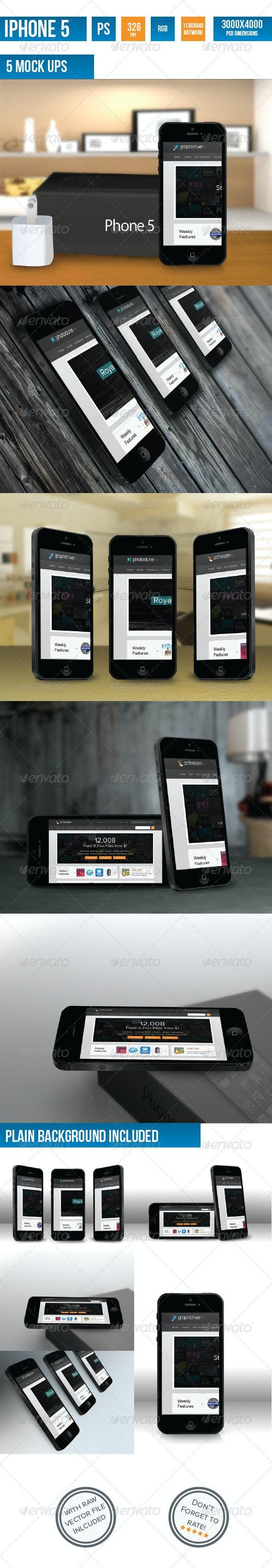 iPhone 5 Photorealistic Mock-UP - Mobile Displays