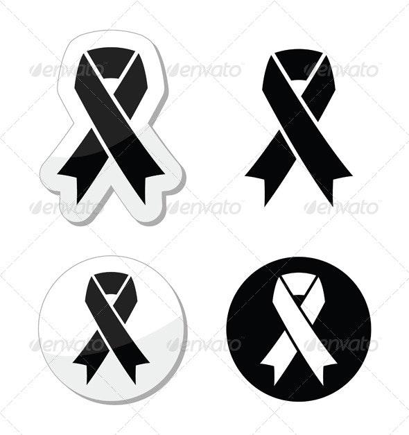 Black Ribbon - Mourning, Death Symbol - Health/Medicine Conceptual