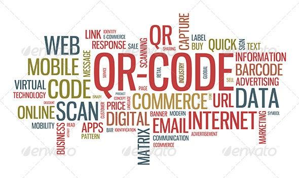 QR Code Word Cloud Illustration  - Communications Technology