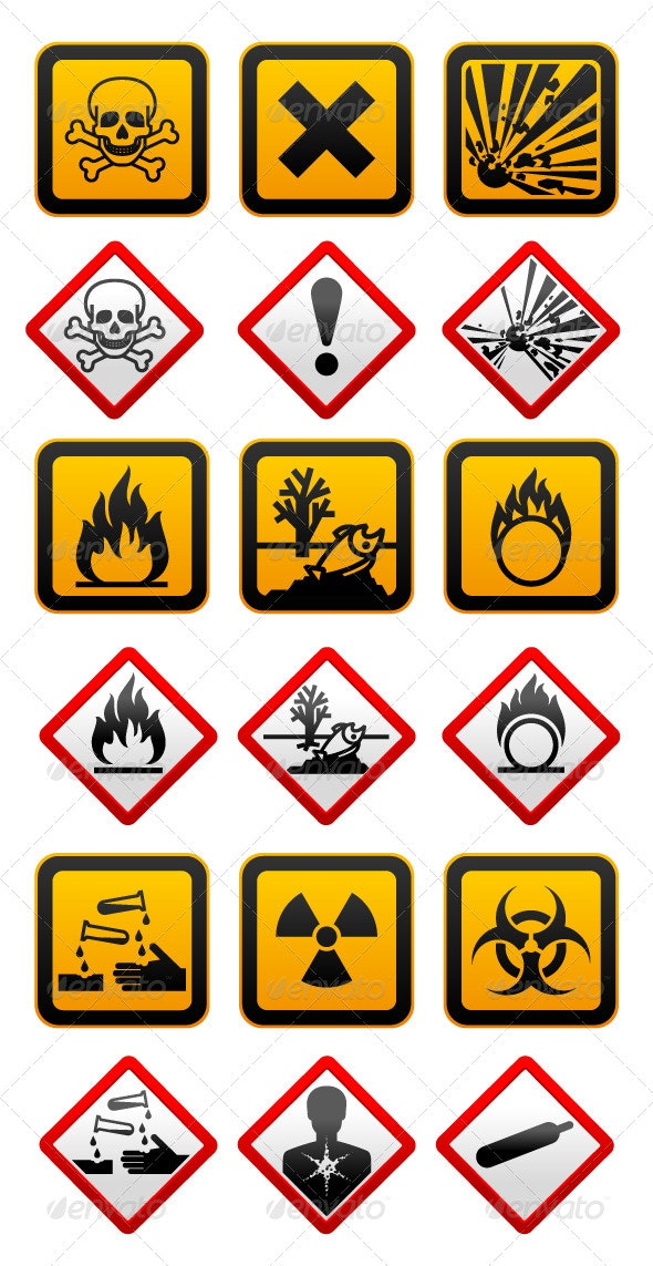 New and Old Hazard Symbols by ecelop | GraphicRiver