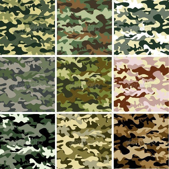 Set of 9 Camouflaged Patterns
