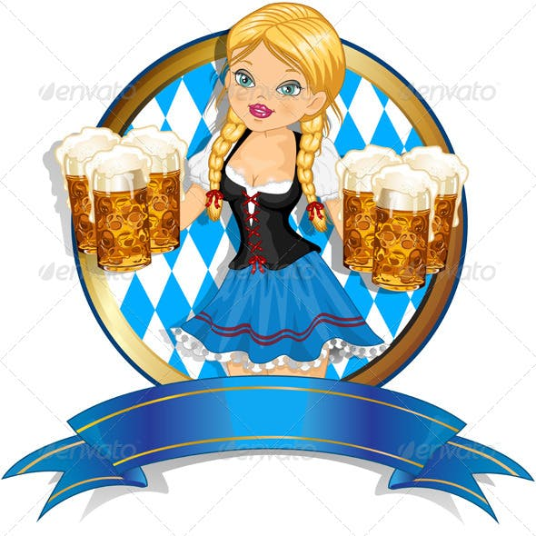 Bavarian Girl with Flag and Beer