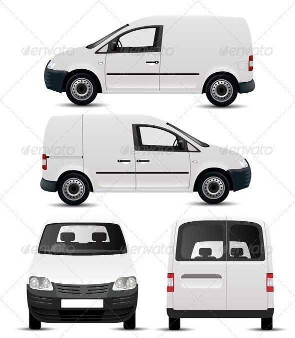 White Commercial Vehicle Mockup - Services Commercial / Shopping