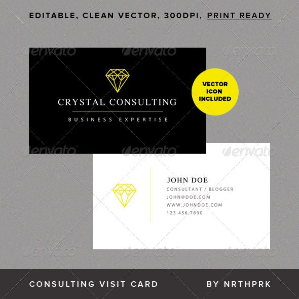 Crystal Consulting Visit Card - Corporate Business Cards