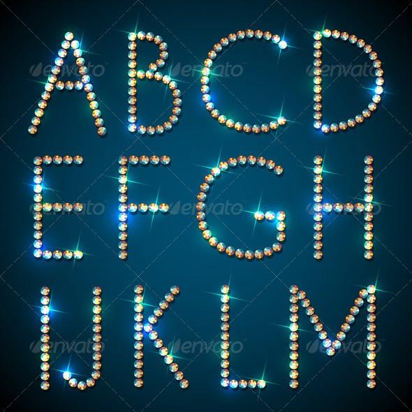 Shiny Diamond Alphabet Letters