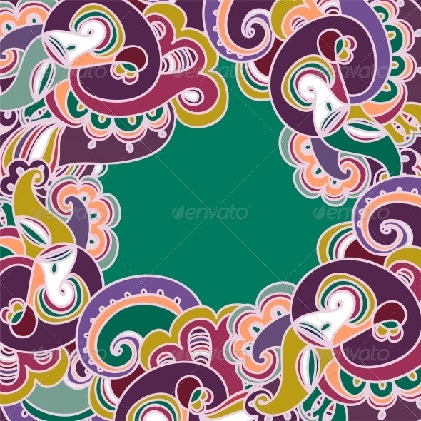 Colorful Paisley Frame - Patterns Decorative
