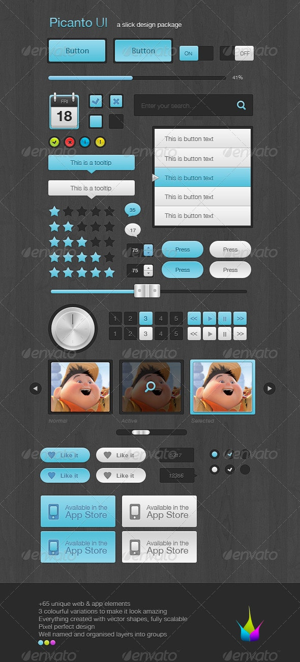 Picanto 1.0 Ultimate UI - Buttons Web Elements