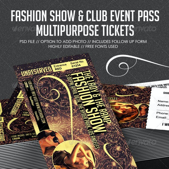 Fashion Show & Club Event Multipurpose Tickets