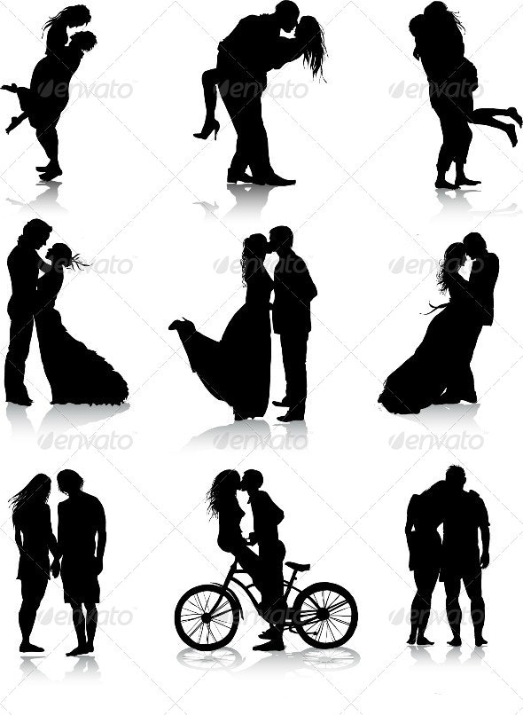 Romantic Couples Silhouettes - People Characters