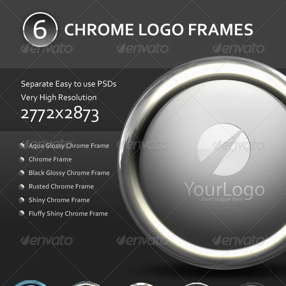 6 Chrome Logo Frame Mockups