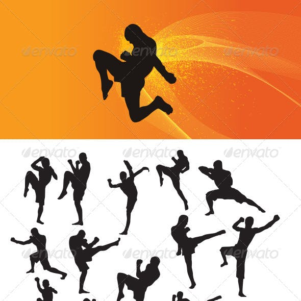 Muay Thai Martial Art Silhouettes