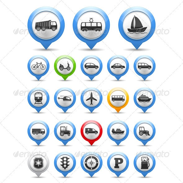 Transport Icons - Web Elements Vectors