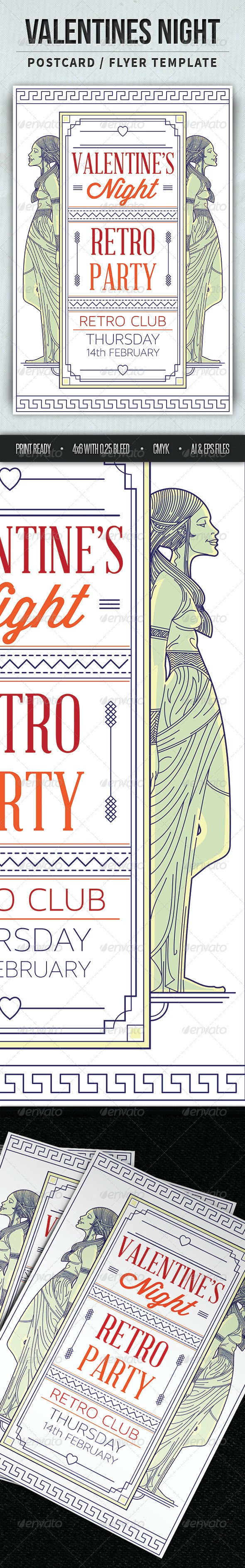 V-Day Retro Party Flyer/Post Card - Events Flyers