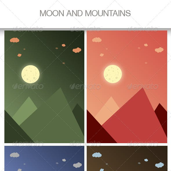 Moon and Mountains Backgrounds