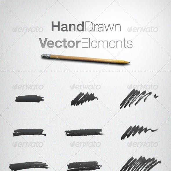 Hand Drawn Vector Elements and Font