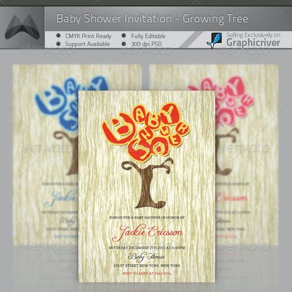 Baby Shower Invitation Card - Growing Tree