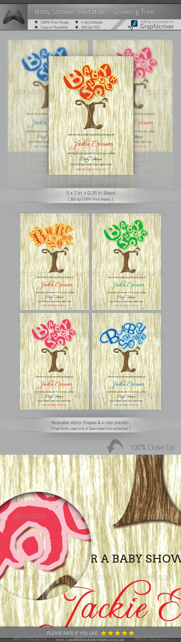 Baby Shower Invitation Card - Growing Tree - Family Cards & Invites