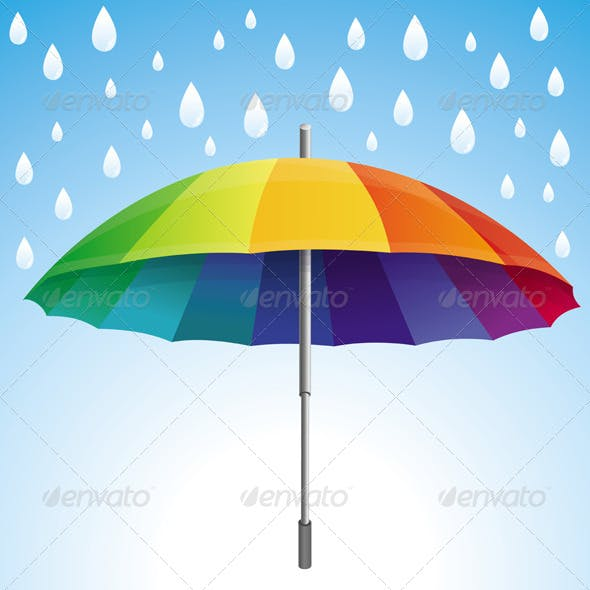 Rainbow Colored Umbrella and Rain Drops