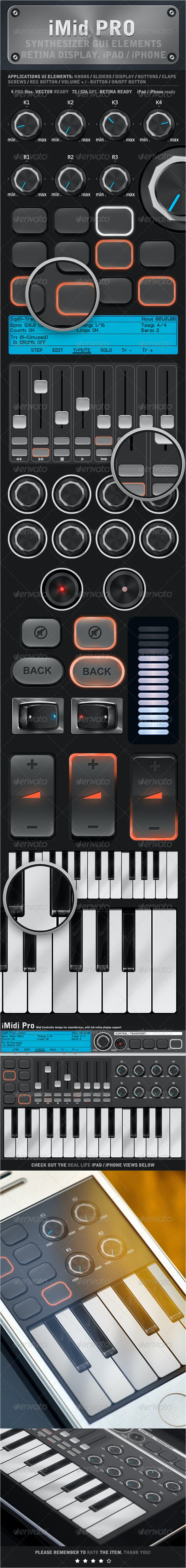 iMidi iPad / iPhone UI Elements - User Interfaces Web Elements