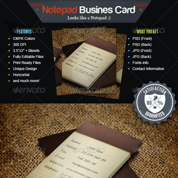 Note Pad Business Card