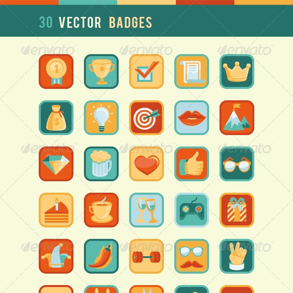 Vector Set with Community Badges and Awards