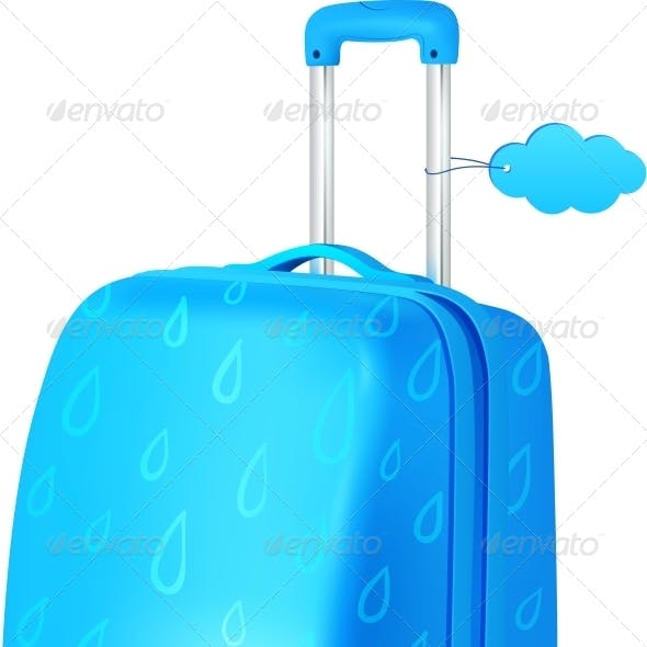 Blue Travellers Suitcase with Rainy Pattern