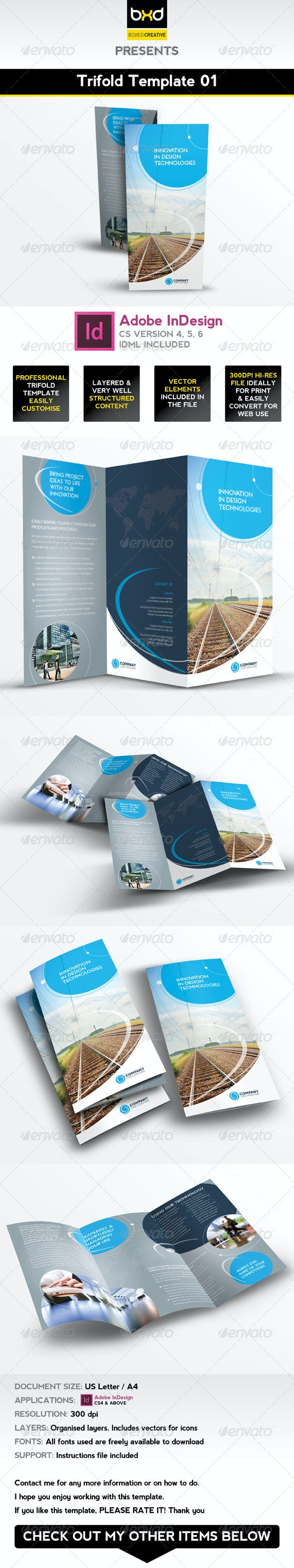 Trifold Brochure Template 01 - InDesign Layout - Corporate Brochures