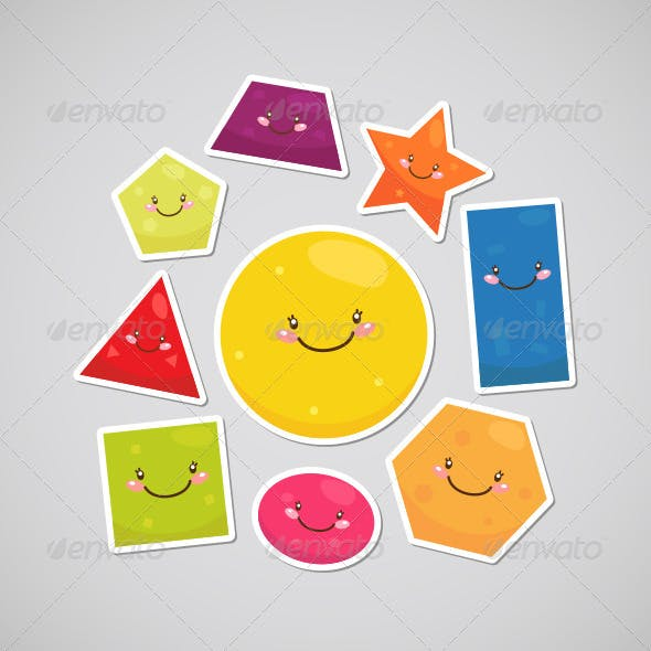 Stickers with Cute Geometric Shapes