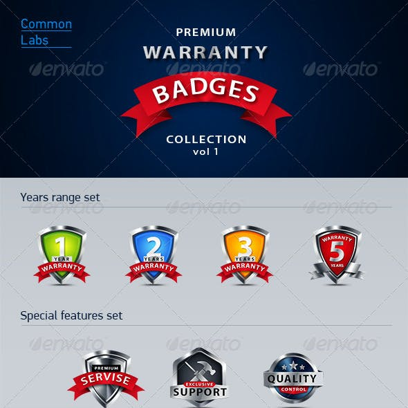 Premium Warranty Badges Collection Vol. 1