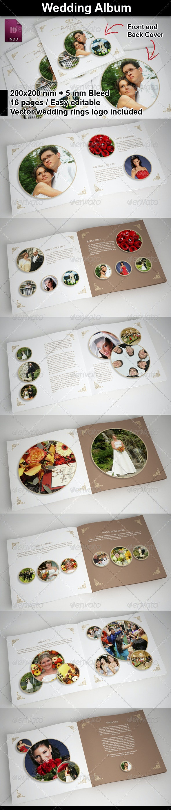 Wedding Album with Rounded Frames - Photo Albums Print Templates