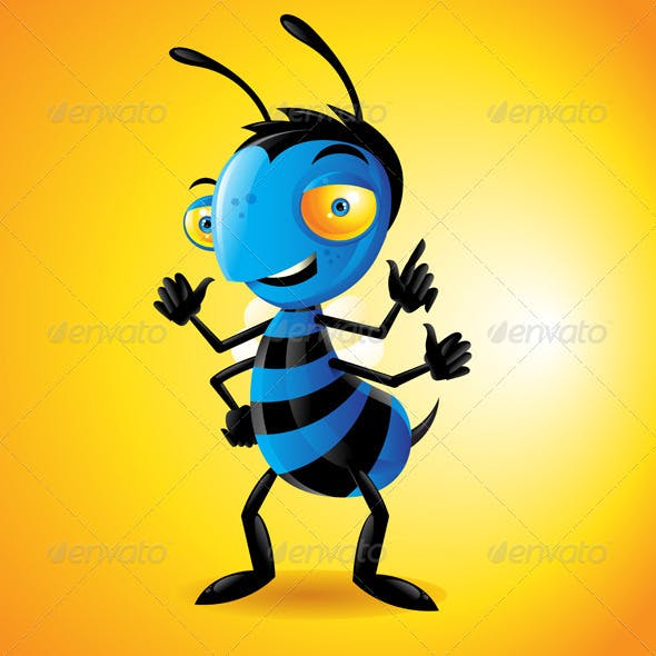 Character Bee Yellow