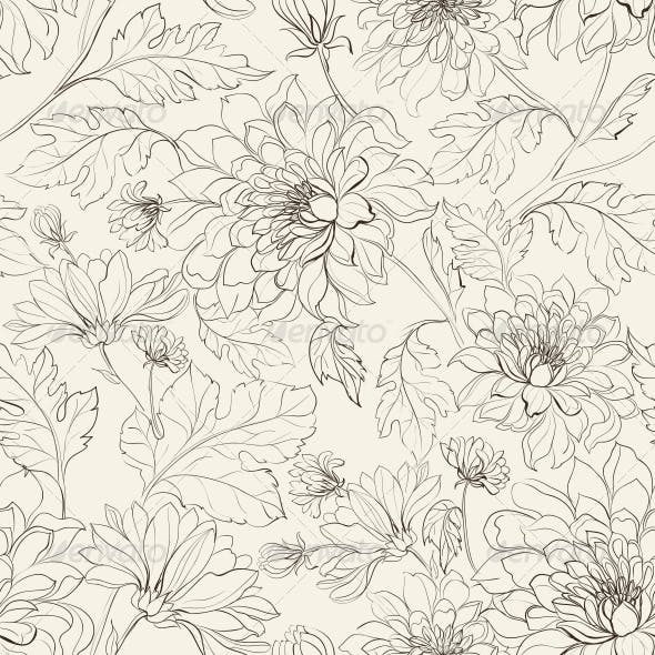 Seamless Floral Pattern with Chrysanthemums