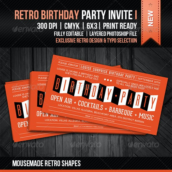 Retro Birthday Party Invite I
